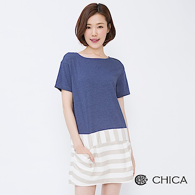 CHICA 復古典雅拼接寬條紋口袋上衣(2色)