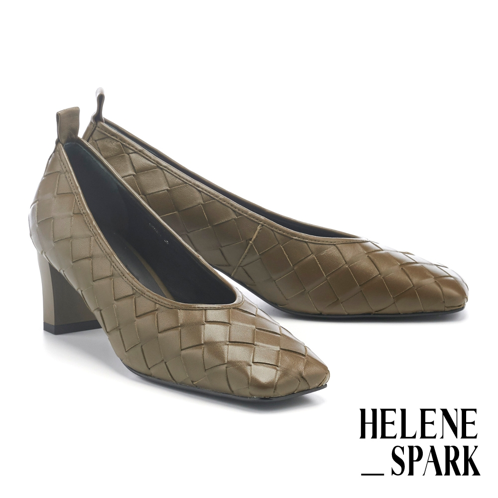 高跟鞋 HELENE SPARK 簡約量感編織造型羊皮方頭高跟鞋-綠