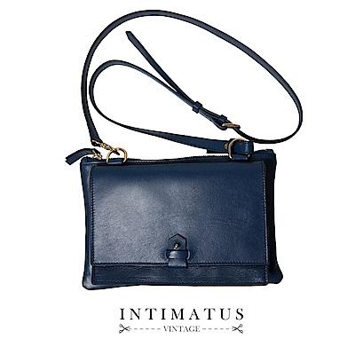 INTIMATUS 真皮 精製牛皮斜背小包 海軍藍色