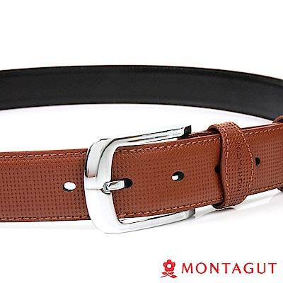 【MONTAGUT夢特嬌】方框配點點紋二層牛皮休閒針扣皮帶(884)