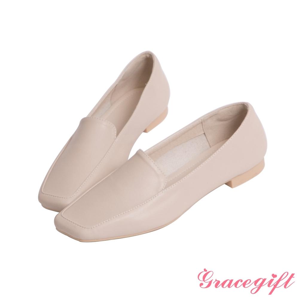 Grace gift-素面造型平底樂福鞋 米白