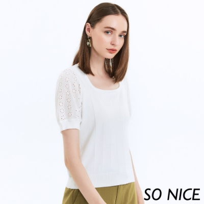 SO NICE優雅鏤空繡花拼接針織上衣