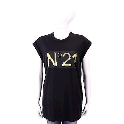 N° 21 燙金字母黑色棉質T恤
