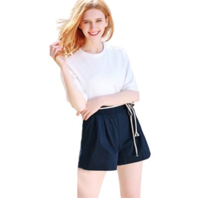 【LANNI 藍尼】韓版大尺碼寬鬆綁繩休閒短褲-5色+