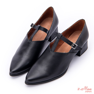 2.Maa 簍空設計側拉帶牛皮尖頭跟鞋 - 黑