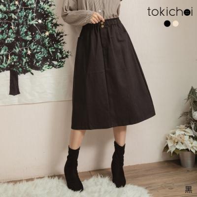 東京著衣 秋冬甜心腰鬆緊雙口袋後開岔中長裙