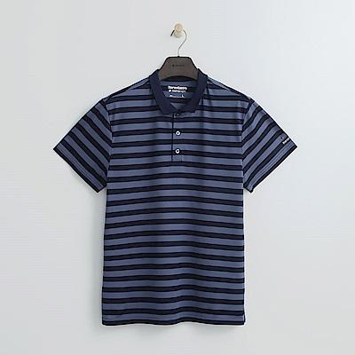 Hang Ten - 男裝 - Thermo Contro 基本寬條紋POLO-藍色