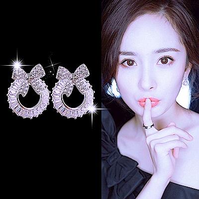 梨花HaNA 韓國925銀鋯晶蝴蝶結鑽環女人味微鑲耳環