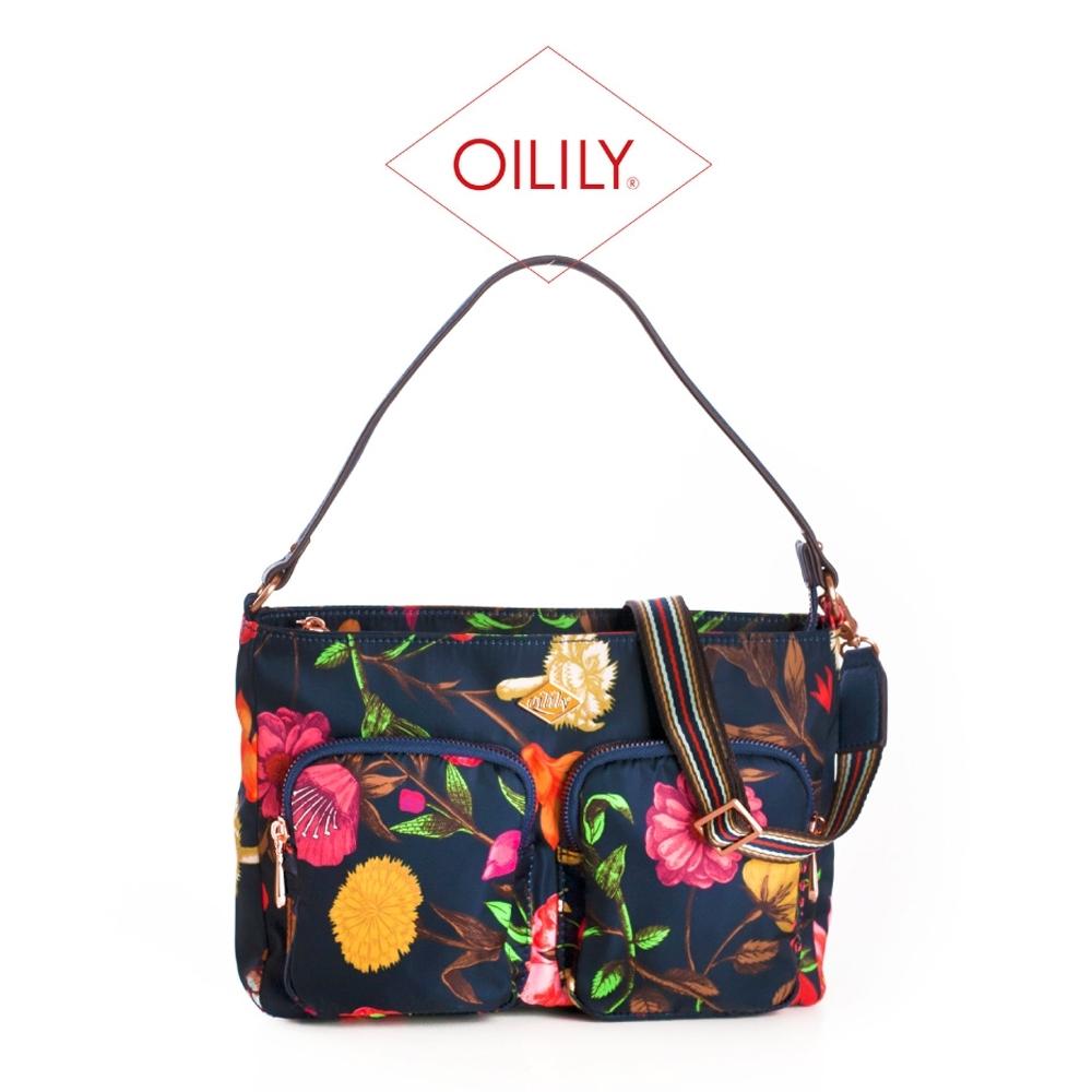 【Oilily】雙拉鍊側肩/斜背包_藏青_Winter Bouquet