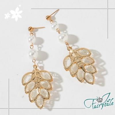 iSFairytale伊飾童話 閃耀水晶葉 華麗金繽珍珠垂墜耳環