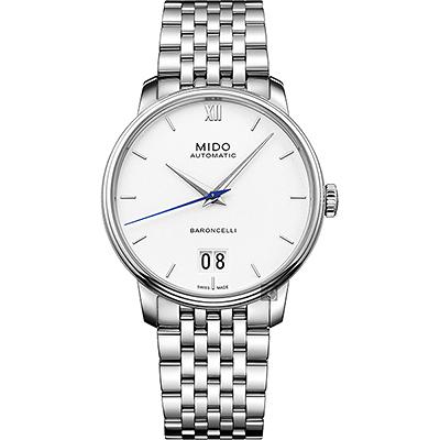 MIDO美度 BARONCELLI 永恆系列 III 大日期機械錶-銀/40mm
