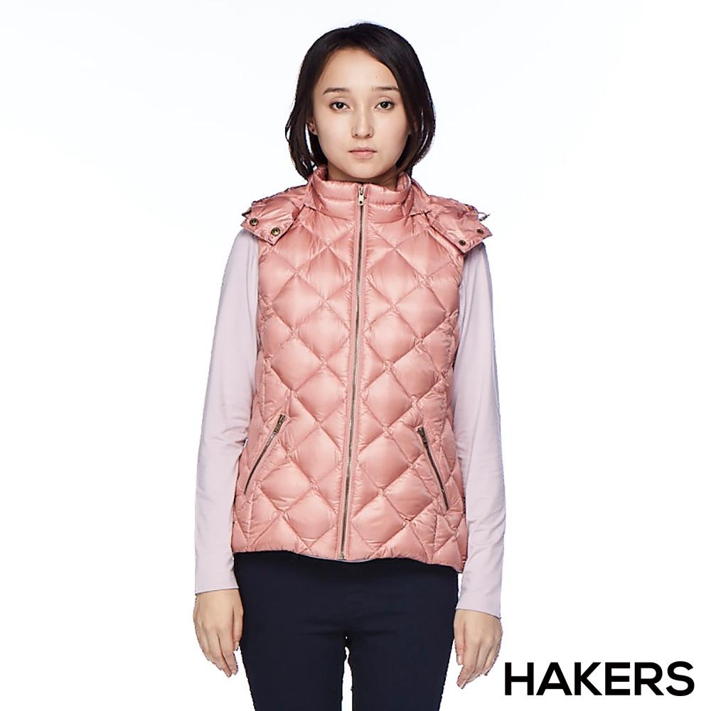 【HAKERS 哈克士】女款 羽絨背心(豆粉)
