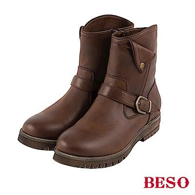 BESO 中性風潮 反折設計工程短靴~咖啡