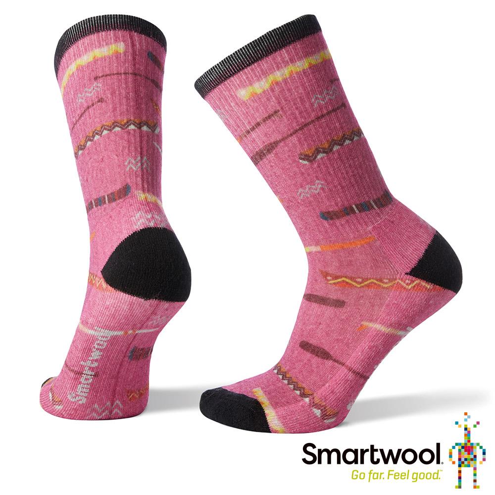 SmartWool 女 輕量減震徒步PRINT中長襪 粉霧紫