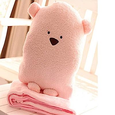 美娜甜心 療癒系萌萌熊超柔軟法蘭絨毛毯/嬰兒毯/暖手抱枕/靠枕(大)