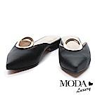 拖鞋 MODA Luxury 摩登簡約圓釦造型尖頭低跟拖鞋-黑