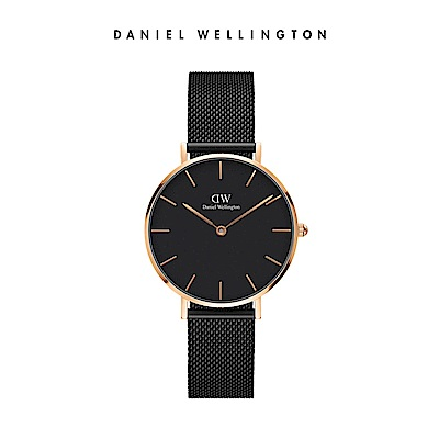 DW 手錶 官方旗艦店 32mm玫瑰金框 Classic Petite 寂靜黑米蘭金屬編織