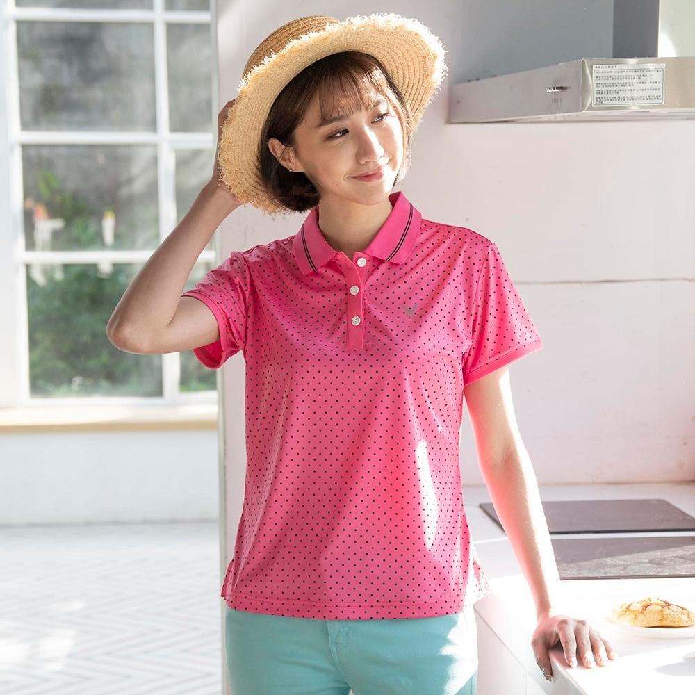 【LEIDOOE】針織四面彈性點點-女短polo衫(16859桃紅)