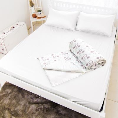 米夢家居-Q-MAX0.4瞬間清爽100%尼龍涼感紗床包涼被四件組雙人5尺-白(清涼普普)