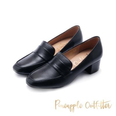 Pineapple Outfitter-MAGAN 都會簡約風方頭真皮中跟鞋-黑色