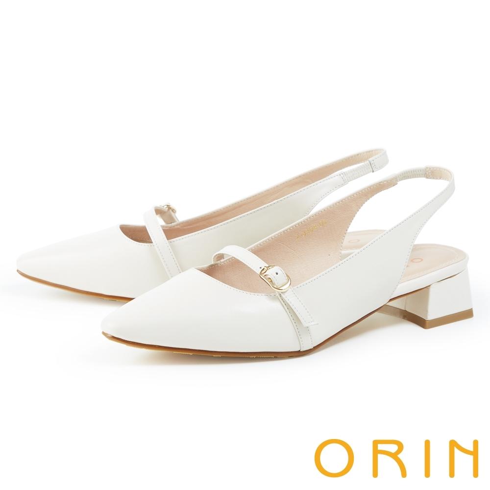 ORIN 鬆緊後帶真皮尖頭中跟 女 涼鞋 白色