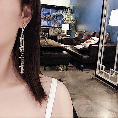 梨花HaNA 韓國珍珠天使之淚水晶長耳環