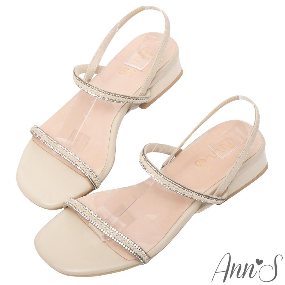 Ann'S靚女出街-訂製編織鑽石帶顯瘦V線條微方頭粗跟涼鞋-杏