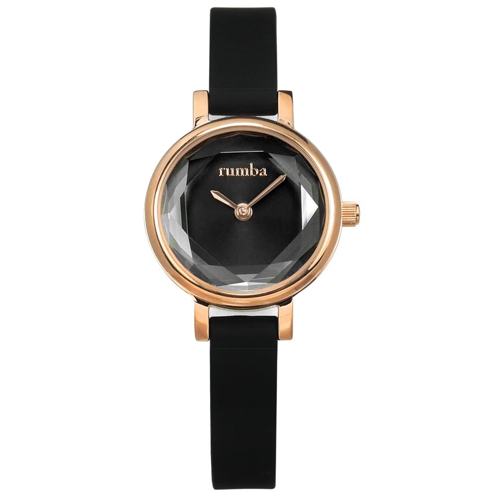 rumba time 紐約品牌 小巧細緻 切割玻璃鏡面 矽膠手錶-黑x玫瑰金框/23mm