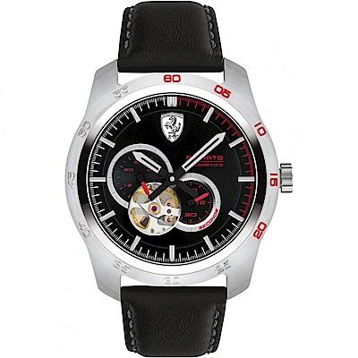 FERRARI 法拉利競速快感鏤空機械錶-黑/44mm FA0830442