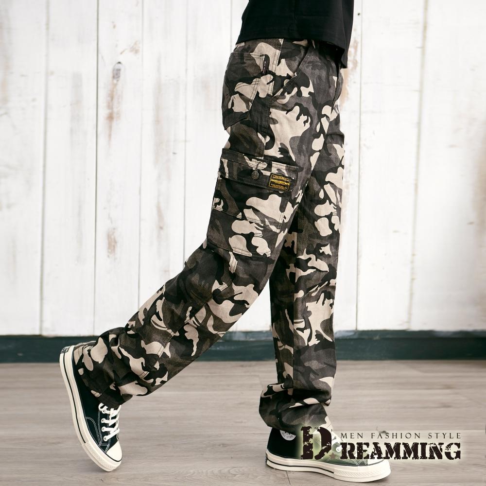 Dreamming 美式迷彩布標多口袋休閒長褲 工裝褲-共二色 (米灰)