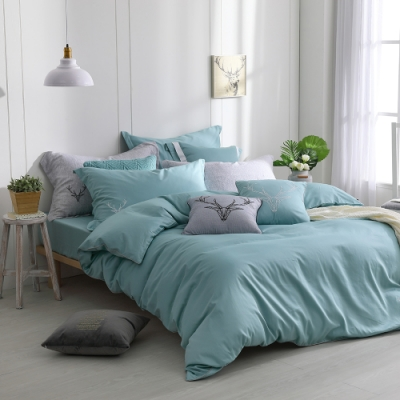 OLIVIA  Saul 湖綠 加大雙人床包兩用被套四件組 300織匹馬棉系列 台灣製