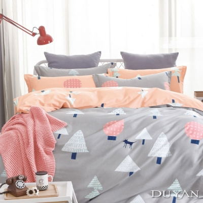 DUYAN竹漾 100%精梳純棉 雙人加大床包三件組-挪威森林 台灣製