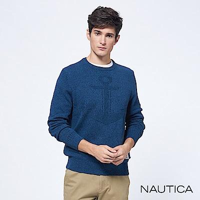 Nautica立體船錨素色長袖針織衫-深藍