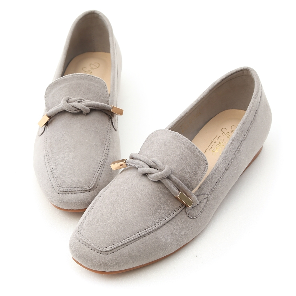 D+AF 秋氛輕著.小金飾綁結絨料樂福鞋*灰