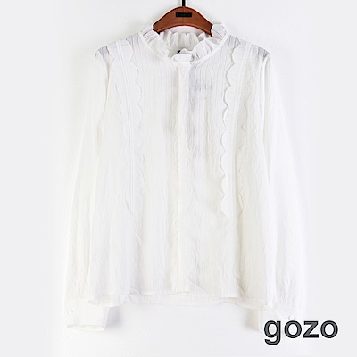 gozo 微透條紋花瓣領襯衫(白色)