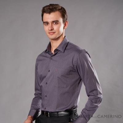 ROBERTA諾貝達 台灣製 進口素材 合身版 商務條紋長袖襯衫 深紫