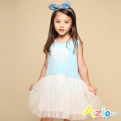 Azio Kids 女童 洋裝 蕾絲小白花刺繡無袖網紗洋裝(藍)