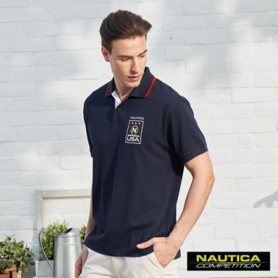 Nautica COMPETITION美式LOGO短袖POLO衫-深藍