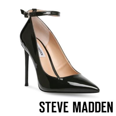STEVE MADDEN-VONNA 尖頭繞踝後包高跟鞋-鏡黑色