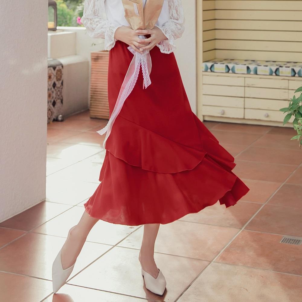 純色浪漫層次傘襬魚尾長裙-OB大尺碼