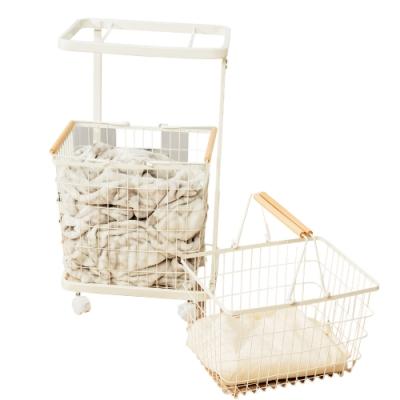 樂嫚妮 雙提籃方型洗衣籃收納車-白