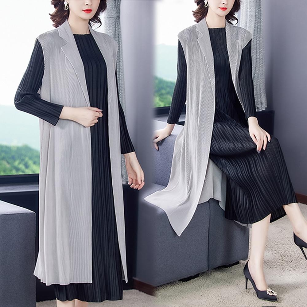 【KEITH-WILL】(預購)韓新品俐落優雅壓褶背心外套(共3色) (灰色)