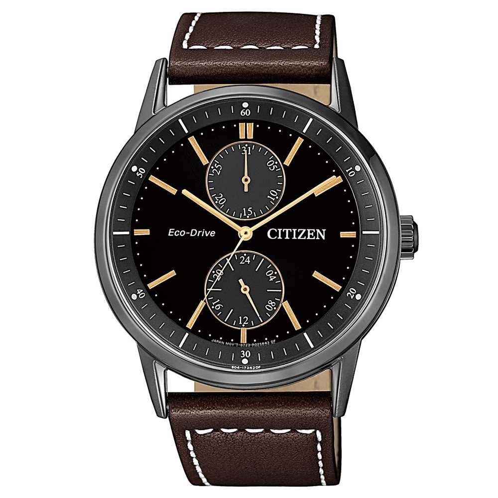 CITIZEN 星辰GENTS兩眼咖色光動能手錶44mm(BU3027-16E)