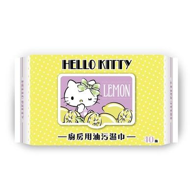 Hello Kitty 凱蒂貓 廚房用去油污濕巾/濕紙巾 (加蓋) 40抽 X 16包(箱購) 添加檸檬清香及生薑精華 快速去污省時省力 溫和完全不傷手
