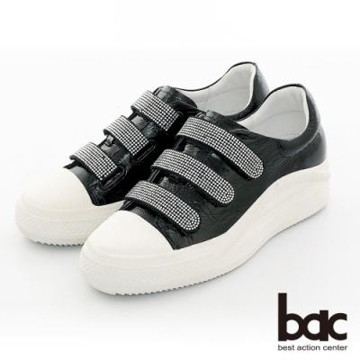 【bac】復古風潮排鑽魔鬼氈厚底台休閒鞋-黑色