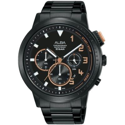 ALBA雅柏 潮流三眼計時手錶(AT3F31X1)-黑/44mm