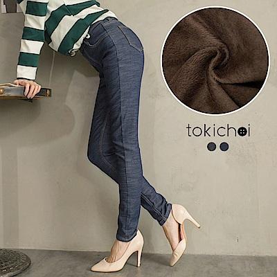 東京著衣 +5度C保暖依然瘦腿內刷毛牛仔褲-S.M.L.XL(共二色)