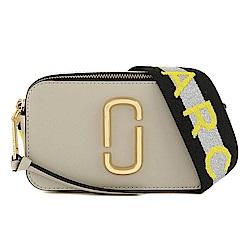 MARC JACOBS Snapshot  防刮牛皮品牌字母LOGO織帶相機包(米灰色)