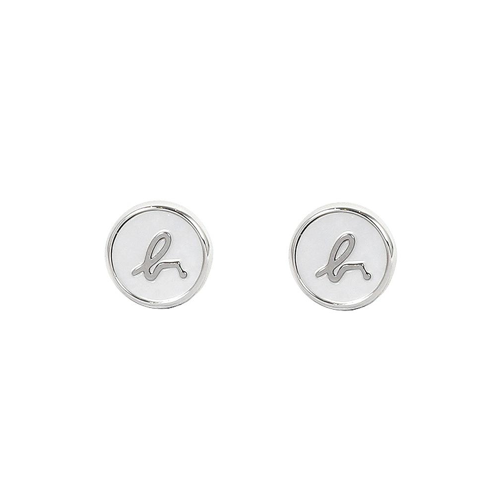 agnes b. b logo 珍珠母貝耳環