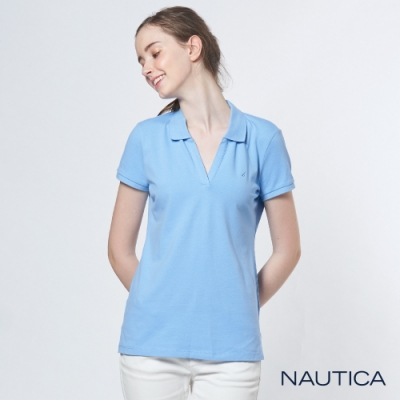 Nautica女裝素面V領修身短袖POLO衫-天空藍